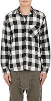 NSF Men's Distressed Checked Shirt-BLACK