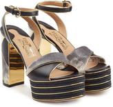 Salvatore Ferragamo Embossed Leather Platform Sandals