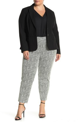 Amanda & Chelsea Sketch Grid Comfort Waist Ponte Pants (Plus Size)