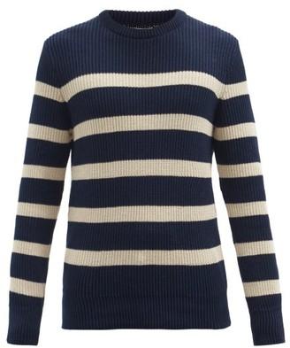 Oliver Spencer Blenheim Striped Organic-cotton Sweater - Navy Multi
