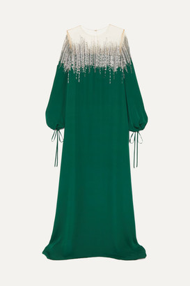 Oscar de la Renta Embellished Silk-crepe And Tulle Gown - Emerald