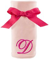 Princess Linens Embroiere Pink Initial Cotton Knit Blanket
