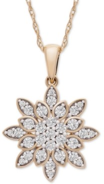 "Wrapped in Love Diamond Cluster 20"" Pendant Necklace (1/2 ct. t.w.) in 14k Gold, Created for Macy's"