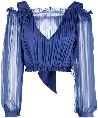 Alberta Ferretti Cropped Ruched Blouse