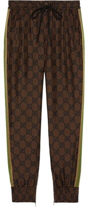 Gucci Gg Supreme Brown Silk Track Pants