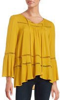 Design Lab Lord & Taylor Cutout Bell-Sleeve Peasant Top