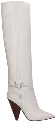 Isabel Marant Lazu High Heels Boots In White Leather
