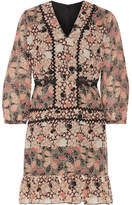 Anna Sui Embellished Printed Silk-chiffon And Cotton-blend Voile Mini Dress