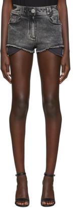 Balmain Black Denim High Waist Monogram Shorts