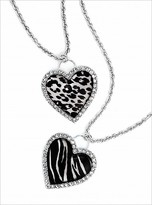 Animal-print heart necklace