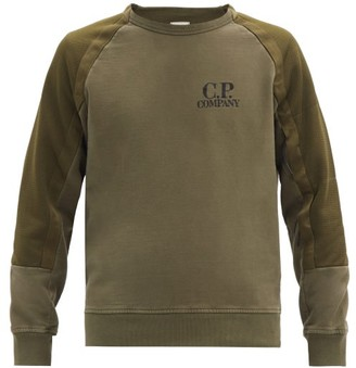 C.P. Company Mesh-pocket Panelled-sleeve Jersey Sweatshirt - Green