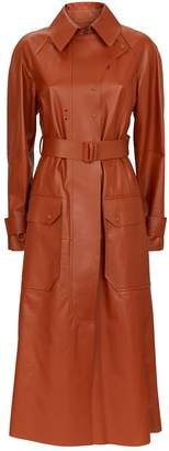 Sportmax Belted Leather Trench Coat