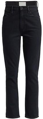 Mother The Dazzler Uneven Waist Mid-Rise Crop Straight-Leg Jeans