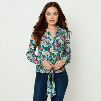 Joe Browns Buttoned Floral Print Blouse with Tie Hem