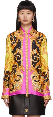 Versace Black and Pink Baroque Shirt