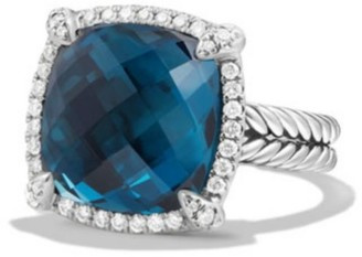 David Yurman Chatelaine Pave Bezel Ring with Hampton Blue Topaz and Diamonds