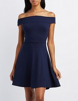 Charlotte Russe Off-The-Shoulder Cross-Back Skater Dress