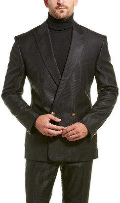 Versace 2Pc Wool & Silk-Blend Suit With Flat Pant