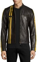 Belstaff Mashburn Waxed Leather Jacket w/Racing Stripes