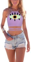 Ninimour Halter Cross Hollow Boho Bandage Camis Crop Top