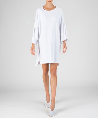 Atm Ruffle Sleeve Dress - White