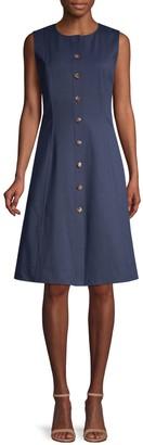 Lafayette 148 New York Fahey Sleeveless Button-Front Dress