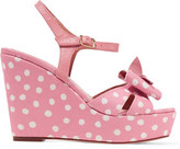 RED Valentino Leather-Trimmed Polka-Dot Canvas Wedge Sandals