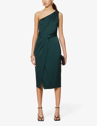 Ted Baker Zaaraa one-shoulder satin-crepe midi dress