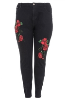 Quiz Curve Black and Red Embroidered Jeans