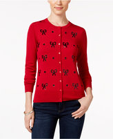 Charter Club Petite Sequinned Bow Cardigan, Only at Macy's