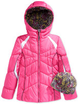 London Fog Girls' 2-Piece Active Puffer Coat & Hat Set