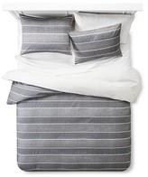 Threshold Chambray Woven Stripe Duvet Cover Set Full/Queen Black