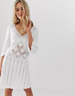 Asos Design DESIGN crochet skater dress-White
