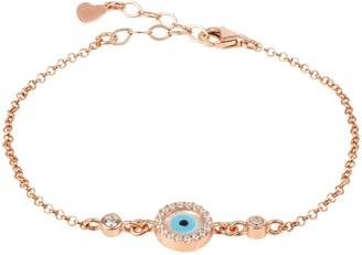 Latelita Evil Eye Round Mother Of Pearl Gemstone Bracelet Rosegold