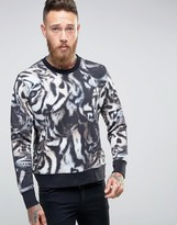 Paul Smith PS by Sweatshirt With All Over Tiger Print In Regular Fit Black