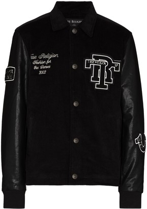True Religion Faux-Leather Sleeves Bomber Jacket