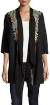 Johnny Was Sita Linen Embroidered Jacket, Plus Size