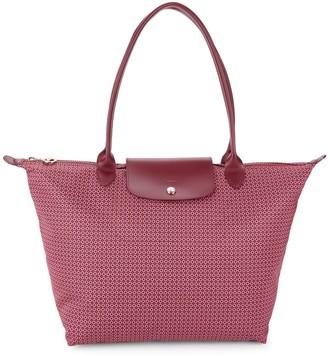 Longchamp Leather-Trim Printed Tote