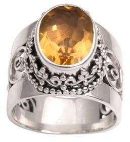 Novica Handmade Sterling Silver Glorious Vines Citrine Ring
