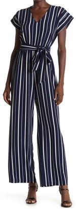 Brinker & Eliza Stripe Print Tie Waist Jumpsuit