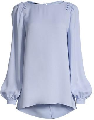 Lafayette 148 New York Albright Bishop-Sleeve Silk Blouse