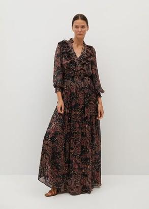 MANGO Printed long dress black - 2 - Women