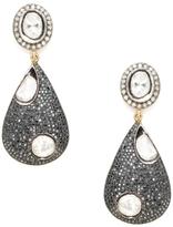 Amrapali Women's Champagne Oval & Black Diamond Teardrop Earrings