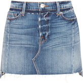 Frame Nouveau Le Mini Mix Distressed Denim Skirt - Mid denim
