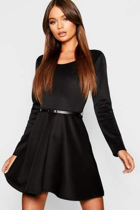 boohoo Long Sleeve Belted Skater Dress