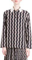 Loewe Floral Wave-Print Blouse, Black