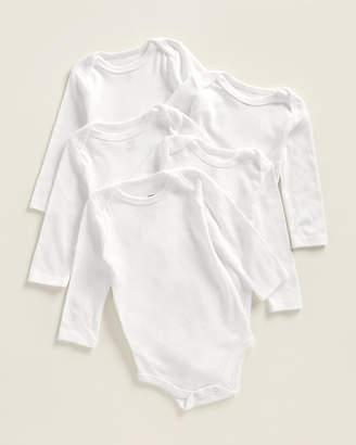 Hudson Baby Newborns) White 5-Pack Long Sleeve Bodysuits