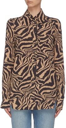 Ganni Animal Print Crepe Shirt