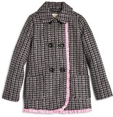 Kate Spade Girls' Double Breasted Ruffled Tweed Coat - Sizes 7-14