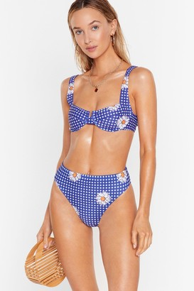 Nasty Gal Womens Sun of a Beach Floral Gingham Bikini Top - Navy